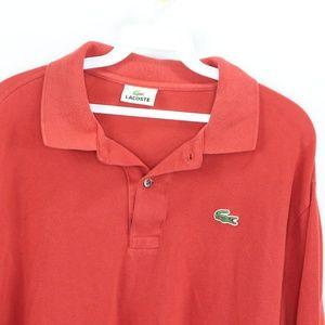 Lacoste Shirts - Lacoste Long Sleeve Golf Polo Shirt Reddish Orange